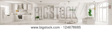 Interior of white apartment kitchen hall living room staircase panorama 3d rendering