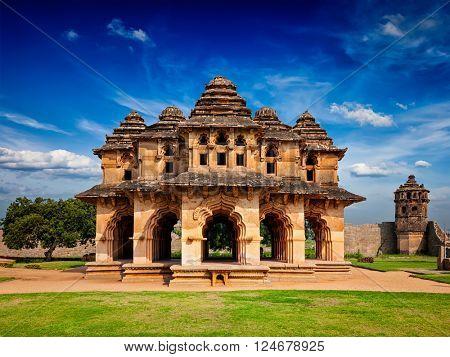 Indian tourist landmark Lotus Mahal pavilion. Royal Centre. Hampi, Karnataka, India