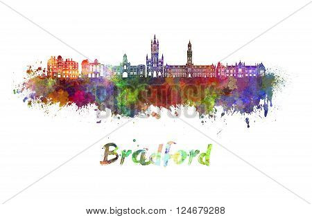Bradford skyline in watercolor splatters with clipping path