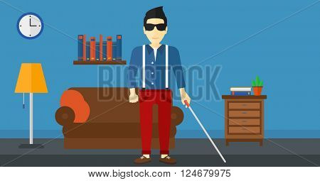 Blind man with stick.