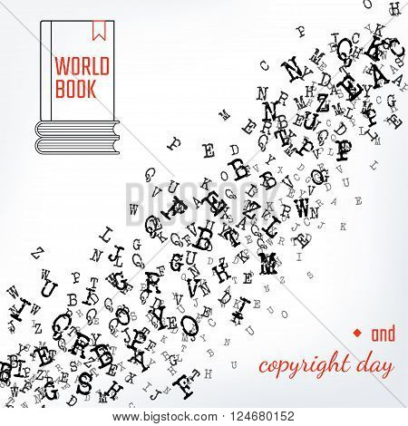 Vector Illustration of Book and copuright day Background for Design, Website, Banner. Letters ABC  Element Template in black. Alphabet  Scattered Symbol Pattern. 23th april