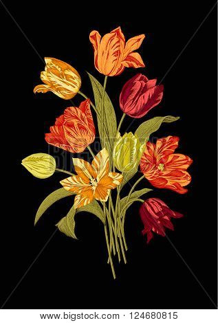 Bouquet of nine vivid tulips on black background. Vector vintage element for design in the style of European botanical illustrations of the 19th century.