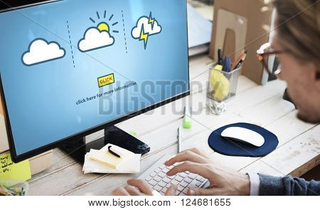 Weather Report Forecast Cloudy Clear Blustery Concept