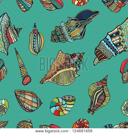 Zentangle stylized sea cockleshell seamless pattern. Hand Drawn aquatic doodle vector illustration. Sketch for tattoo or makhenda. Seashell collection. Ocean life.
