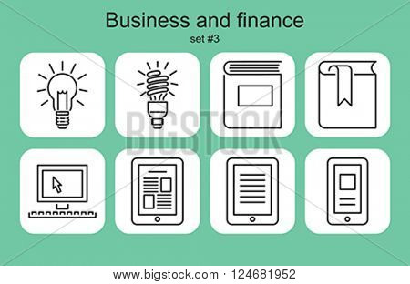 Business and finance icons. Set of editable vector monochrome illustrations.