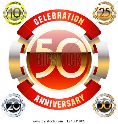Luxury glossy vector greeting 50 anniversary card with ribbons. Gift for birthday, wedding and other celebration