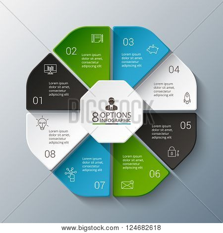 Vector infographic design template. Business concept with 8 options, parts, steps or processes. Can be used for workflow layout, diagram, number options, web design. Data visualization.