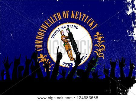 Audience happy reaction with Kentucky State flag background