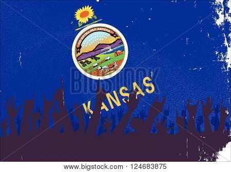 Audience happy reaction with Kansas State flag background