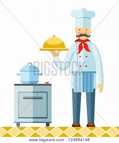 Chef holding a cooked dish. Vector picture. Color flat illustration on white background.