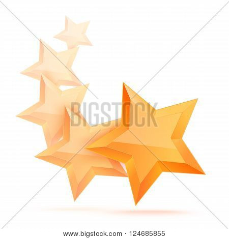 Realistic gold star. Award winner. Five gold stars. Good job. Best reward. bulk copper star. Simple 5 star on a white background. The award for the best choice. Premium class. illustration