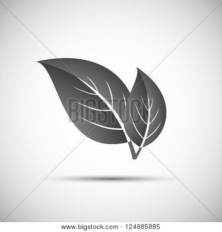 Simple grey vector illustration of two leaves