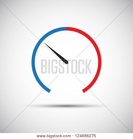Simple thermometer icon pointer indicates the blue part vector illustration