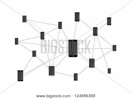 Mobile phones connected in network isolated on white