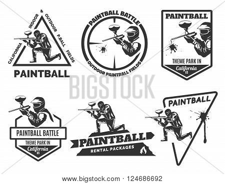 Set of monochrome paintball logo, emblems and icons. Indoor and outdoor paintball club elements. Man with gun and musk. Paintball rental equipment.