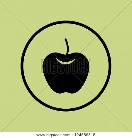 Apple Icon In Vector Format. Premium Quality Apple Icon. Web Graphic Apple Icon Sign On Green Circle