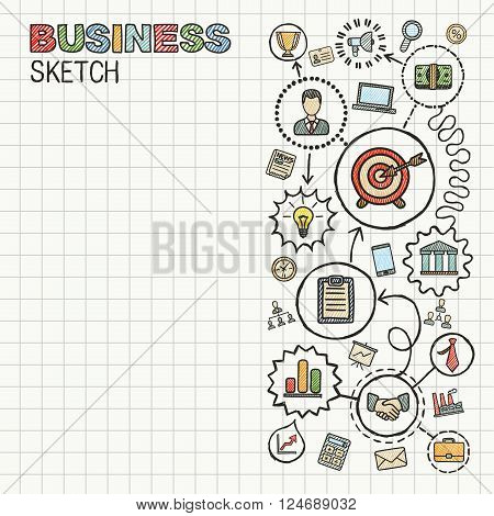 Business hand draw integrated icons set. Colorful vector sketch infographic illustration. Connected doodle pictograms on paper. strategy, mission, service, analytics, marketing, interactive concepts