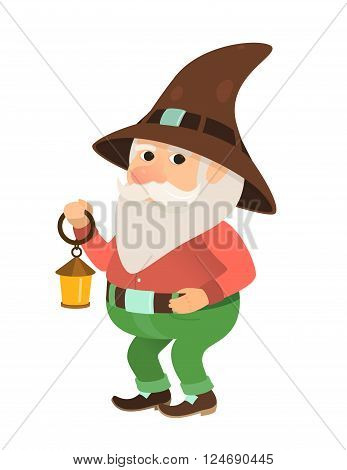 garden gnome with a small oil lamp, dwarf, figurine or cartoon character, isolated