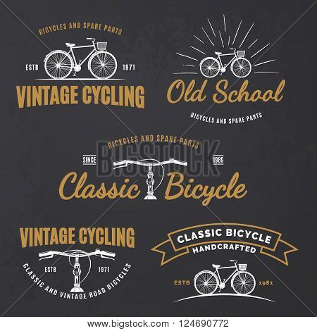 Set of vintage road bicycle labels emblems badges or logo on grunge black background. Handcrafted bicycle repair service and classic bicycle club design elements. Vector.