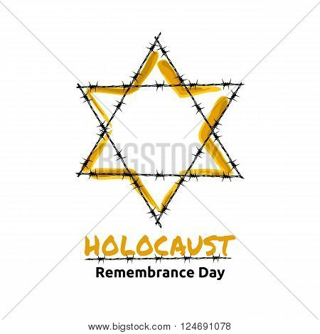 Holocaust Remembrance Day May 5 Jewish star in the barbed wire vector illustration