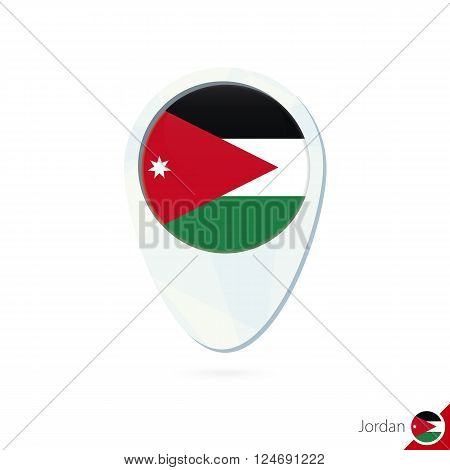 Jordan Flag Location Map Pin Icon On White Background.