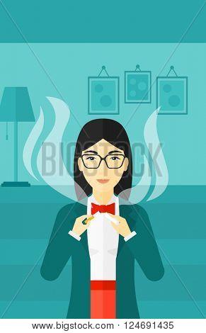 Woman quit smoking.