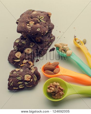 homemade nut cookies with set of nuts