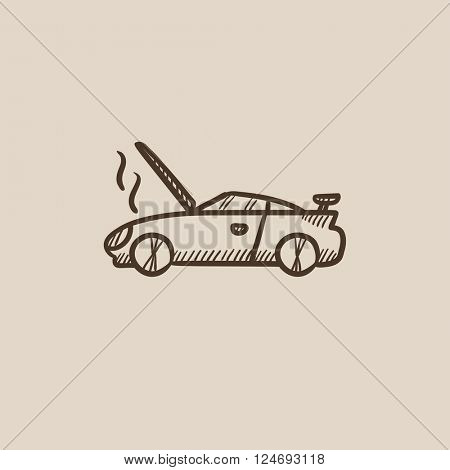 Broken car with open hood sketch icon.