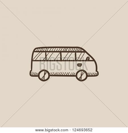 Minibus sketch icon.