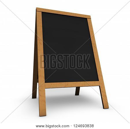 Blank wooden vintage restaurant chalkboard or board with empty black space for menu daily food or event program 3D illustration on white background.