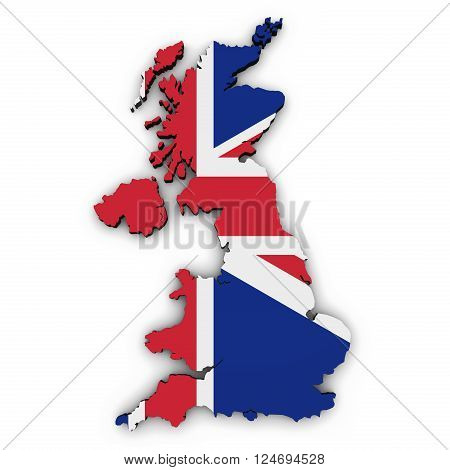 United Kingdom map border shape with union jack uk flag 3D illustration on white background.