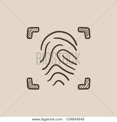 Fingerprint scanning sketch icon.