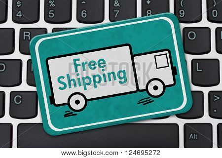 Free Shipping Sign A teal sign with text Free Shipping on a truck on a keyboard, 3d illustration
