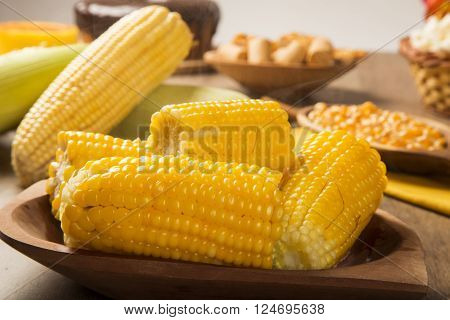 Close View On Homemade Golden Corn Cob With Butter And Salt On Table
