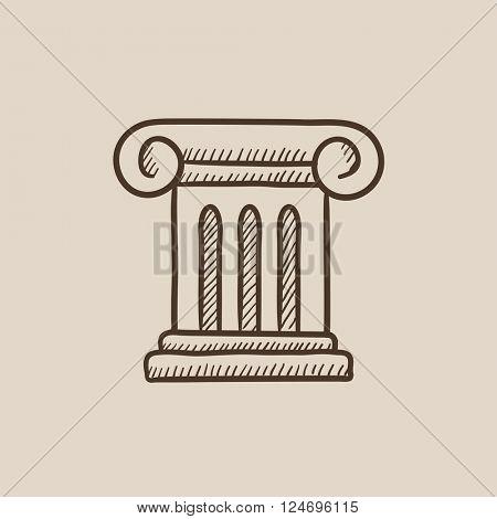 Ancient column sketch icon.