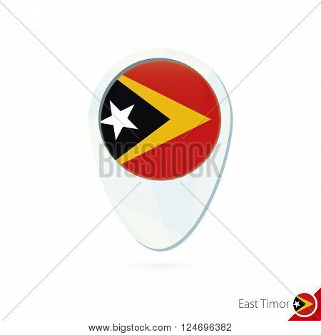 East Timor Flag Location Map Pin Icon On White Background.