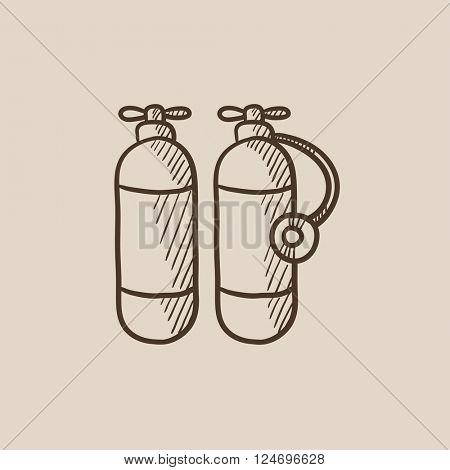Oxygen tank sketch icon.