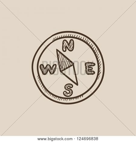 Compass sketch icon.
