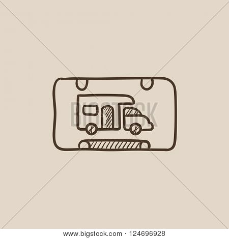 RV camping sign sketch icon.
