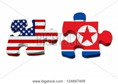 Relationship between the United Stated and North Korea Two pieces of a puzzle with the American flag on one and the North Korean flag on the other isolated over white