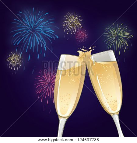 an illustration of two champagne glasses to toast with fireworks
