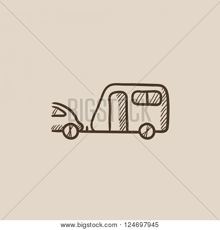 Car with caravan sketch icon.