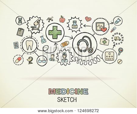 Medical hand draw integrated icon set on paper. Colorful vector sketch infographic illustration. Connected doodle color pictograms, healthcare, doctor, medicine, science, pharmacy interactive concept
