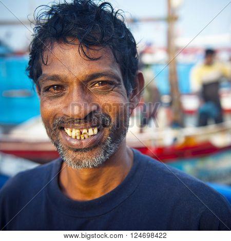 Sri Lankan Fisherman Smiling Portrait Concept