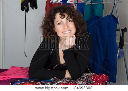 Confident Entrepreneur, Portrait Of Happy  Woman Working As Fashion Designer And Dressmaker In Ateli