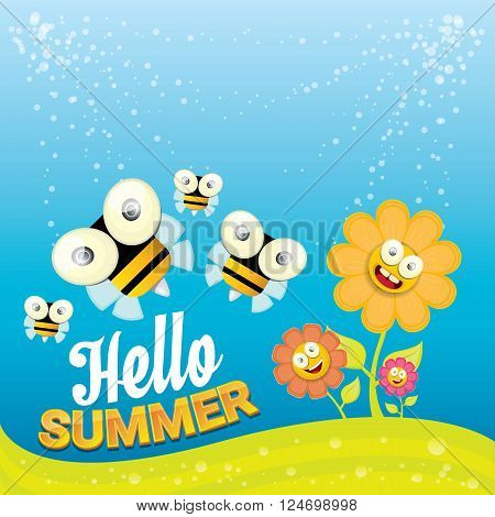 vector cartoon summer landscape with green grass, flowers and flying insects. Honey bees collect pollen and nectar