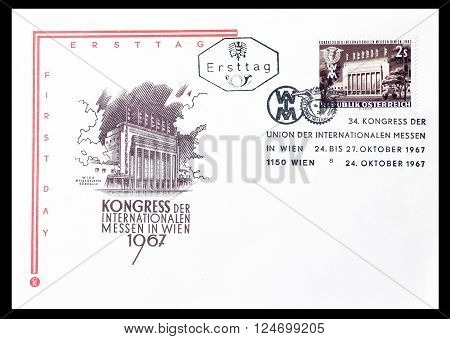 AUSTRIA - CIRCA 1967 : Cancelled First Day Cover letter printed by Austria, that shows Main entrance of the exhibition terrain in Prater Vienna.