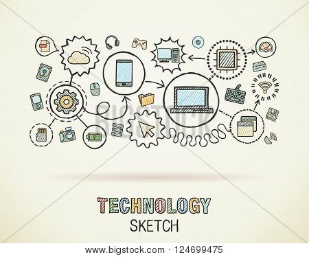 Technology hand draw integrate icons set on paper. Colorful vector sketch infographic illustration. Connected doodle pictograms, internet, digital, market, media, computer, network interactive concept