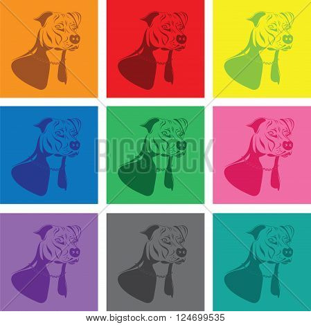 a colourful staffordshire terrier dog silhouette set