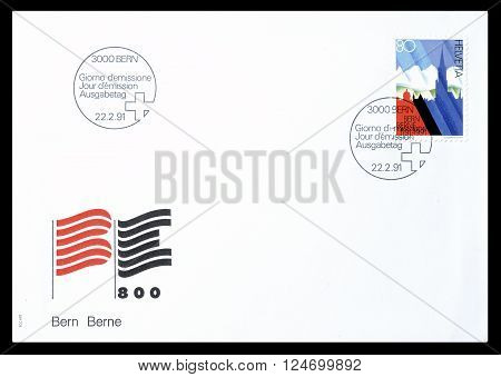SWITZERLAND - CIRCA 1991 : Cancelled First Day Cover letter printed by Switzerland, that shows Symbolic depiction of 700 years Swiss Confederation.